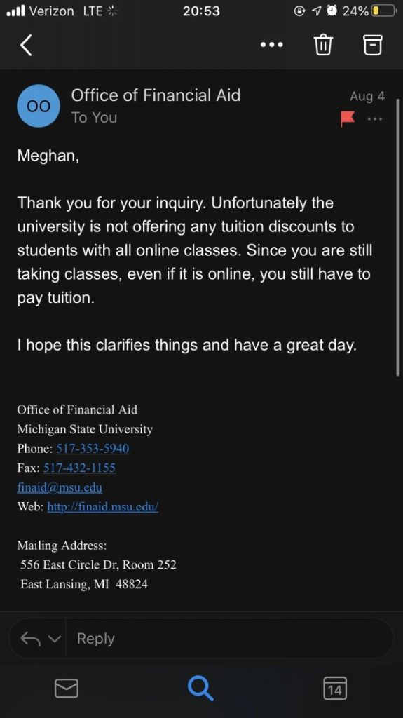 Lowering Tuition in a Pandemic
